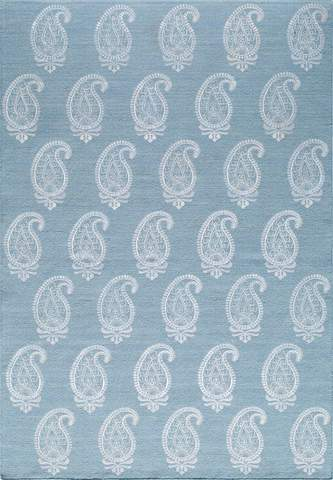 Soft Blue Indian Transitional Flat Weave Rug