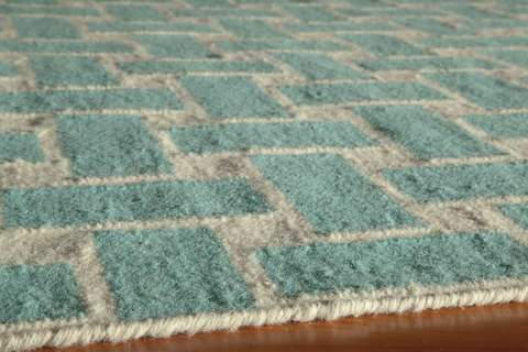Aqua Indian Geometric Flat Weave Modern Rug 2