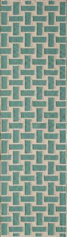 Aqua Indian Geometric Flat Weave Modern Rug 1