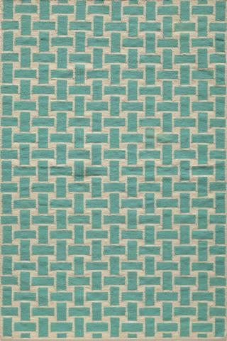 Aqua Indian Geometric Flat Weave Modern Rug