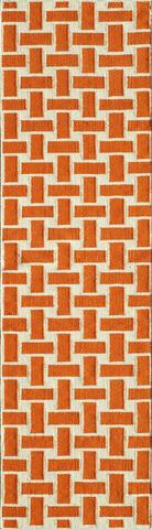 Orange Indian Geometric Flat Weave Modern Rug 2
