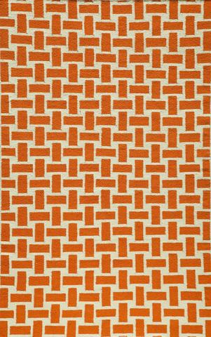 Orange Indian Geometric Flat Weave Modern Rug
