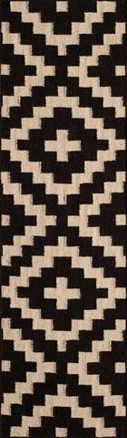 Black Indian Geometric Flat Weave Modern Rug 2