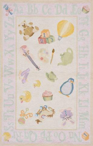 Soft Pink Chinese Classic Kids Rug