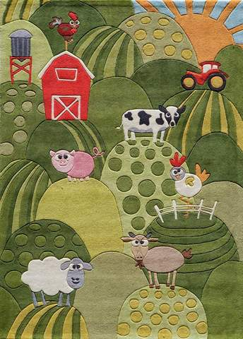 Grass Chinese Modern Kids Rug