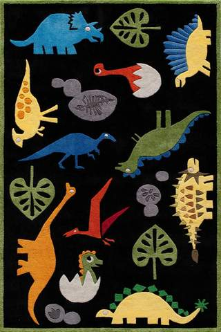 Black Chinese Modern Kids Rug