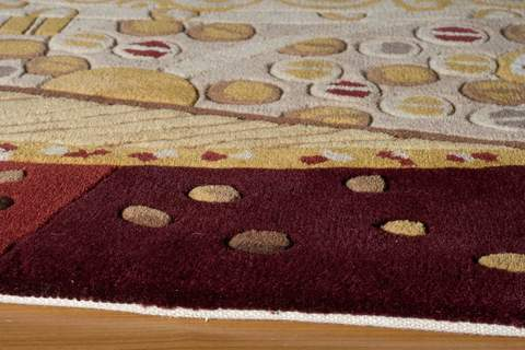 Burgundy Chinese Modern Abstract Rug 1