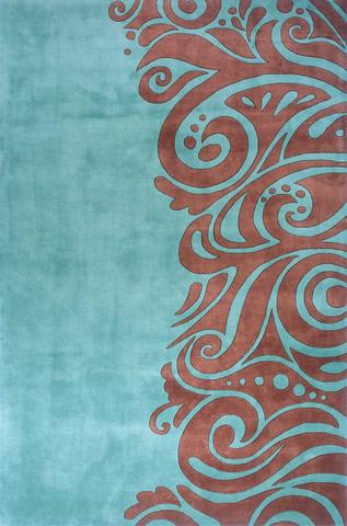 Turquoise Chinese Modern Abstract Rug