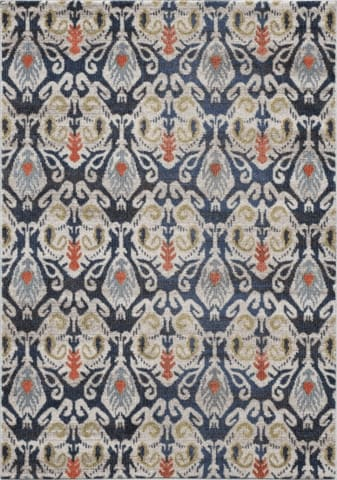 Navy Blue/Beige/Multi Colored Boho Chic Rug — Multiple Sizes