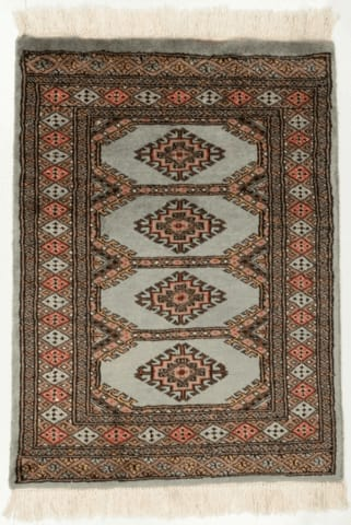 2' x 3' Light Gray Bokhara Rug
