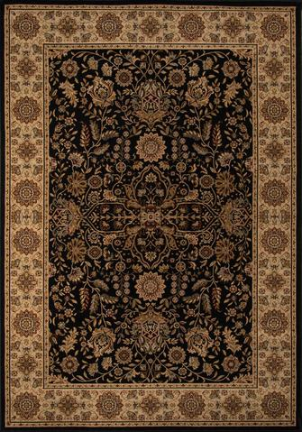 Black Turkish Floral Classic Traditional Rug