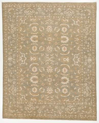 7.11 x 9.11' Gray and Ivory Wool & Silk Rug