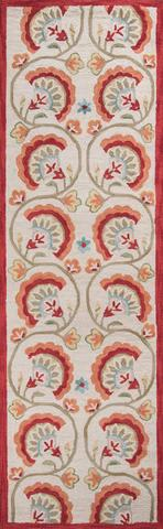 Red Chinese Transitional Floral Rug 2