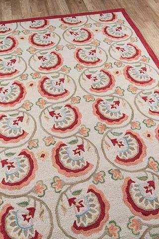 Red Chinese Transitional Floral Rug 3