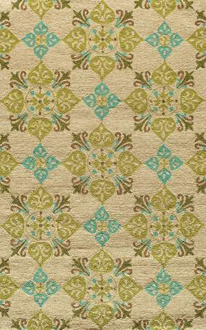 Beige Chinese Geometric Indian Hand Tufted Rug