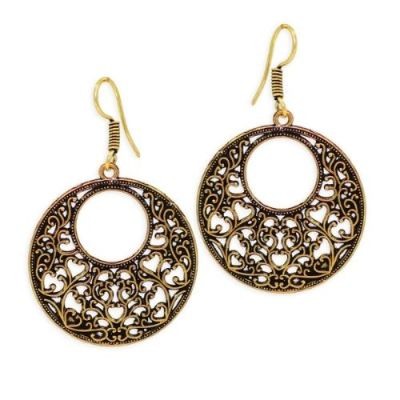 Splendid Design Gold Plated Round Shaped Drop Earrings