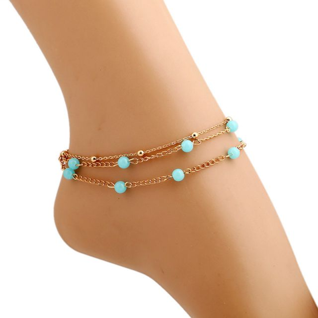 Shforn small three layered bead chain anklet