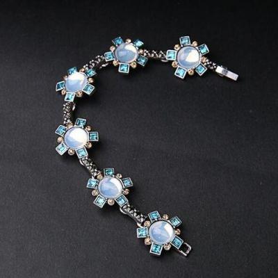 Blue Gemstone Flower Bracelet
