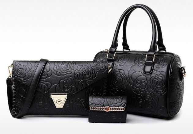 Shforn Black- Rose embossed three piece  Combo Handbag