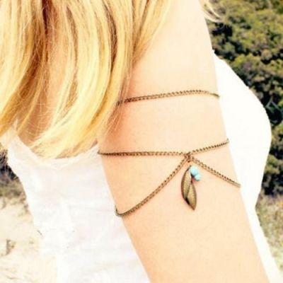 Turquoise Bead Tassel Arm Bracelet (gold)