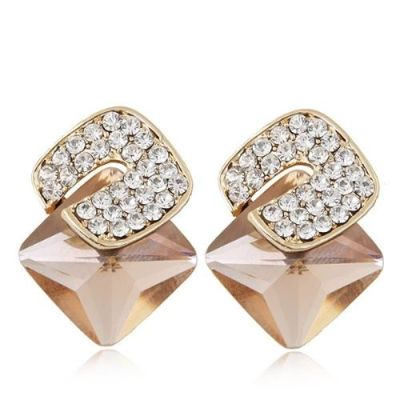 Diamonds three-dimensional Champagne gem unique personality earrings