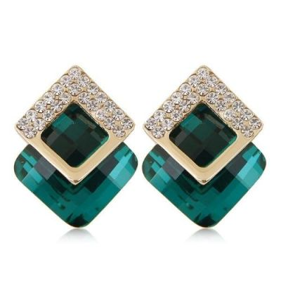 Diamonds three-dimensional Green gem unique personality earrings