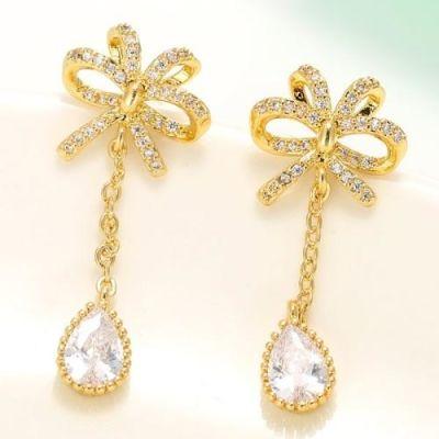 Golden Zircon Bow Earrings