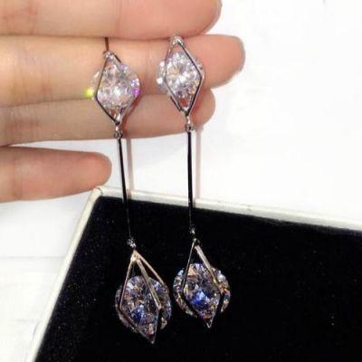 Silver Ultra-Long Diamond Rhombic  Zirconia Earrings