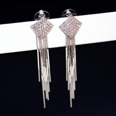Silver Plated Chain Fringe Drop Zircon Earrings