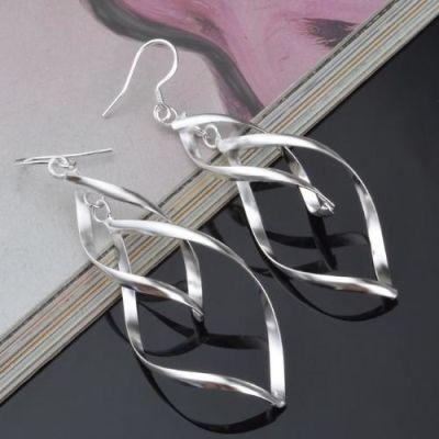 Silver Long Tassels Double  Twist Earrings