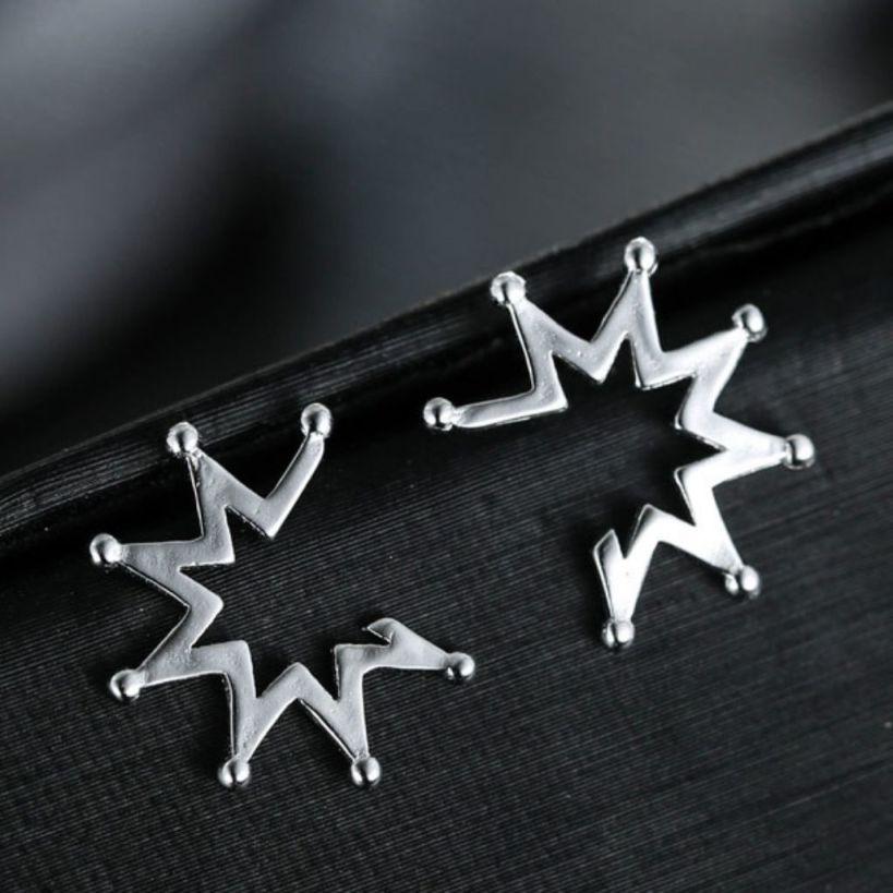 Light Silver Crown Earrings