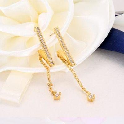 Simple Rose Gold Earrings With Fringe Zircon Drop