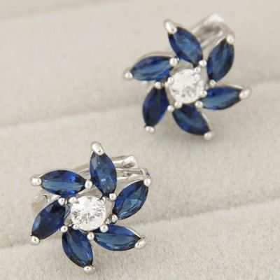 Bright Blue Zircon Flowers Earrings
