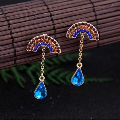 Colorful Fan-Shaped Stones  Decorated Earrings