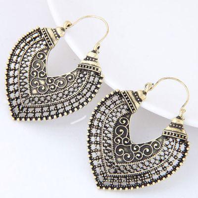 Anti Gold Hollow Buckle Earrings