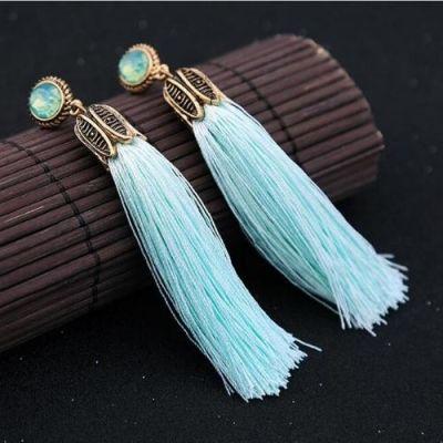 Precious Stone Tassel Earrings