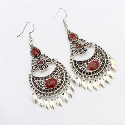 Vintage Red Crescent Earrings
