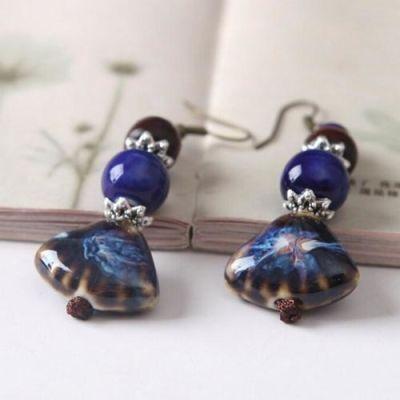 Blue Ceramic Handmade Earrings