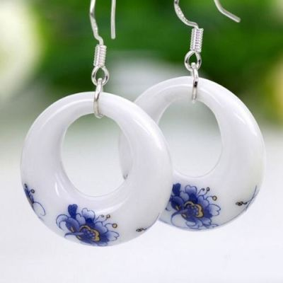 Ceramic Circular Earring with 925 Silver Hook