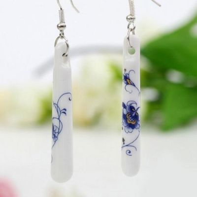 925 Long White Ceramic Earrings