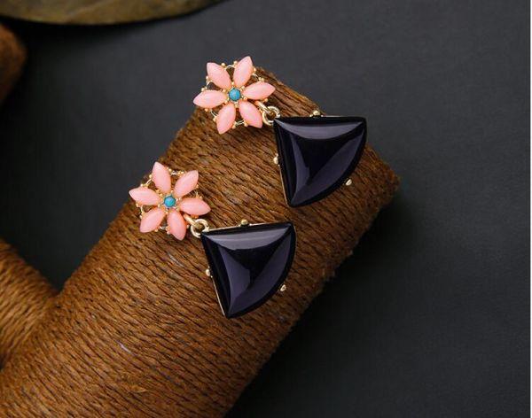 Peach Flowers Triangle Earrings