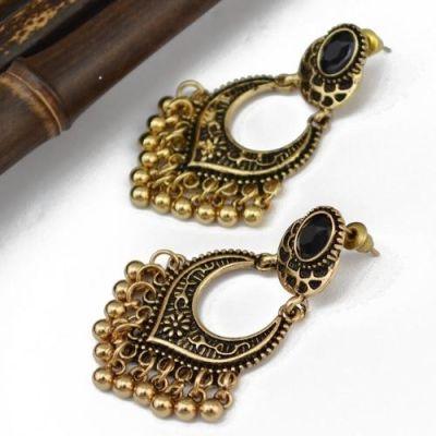 Golden Bead Black Earrings