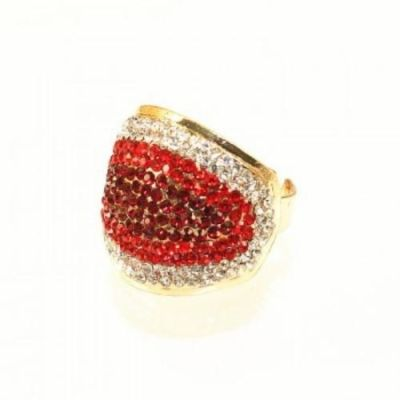 White Maroon Crystal Ring