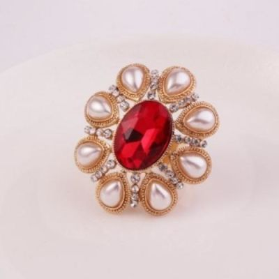 Pearl Red Gem Studded Ring