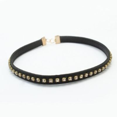 Shforn Black Leather Stone studded Choker,Bracelet