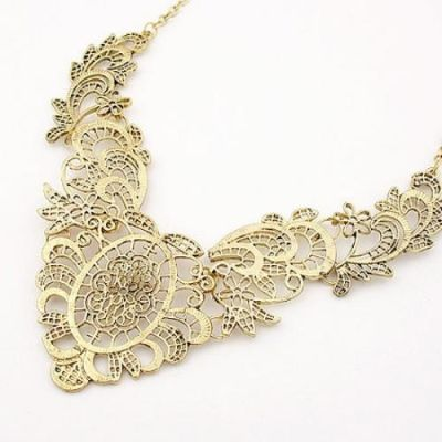 Bronze Floral Pattern Necklace