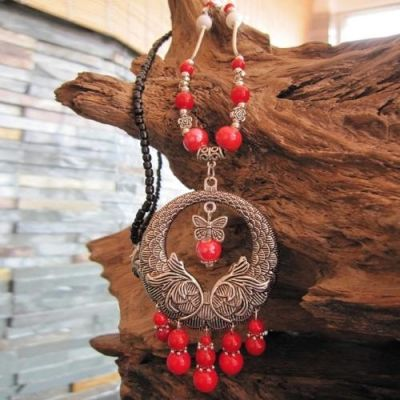 Handmade Ceramic Red Beaded Necklace