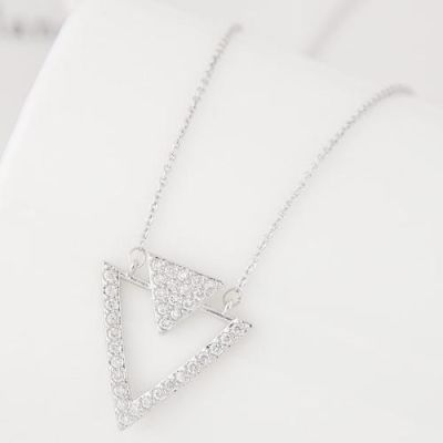 Zircon Studded Silver Triangle Necklace