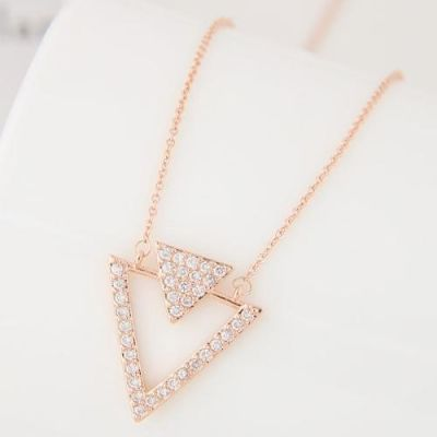 Zircon Studded Gold Triangle Necklace