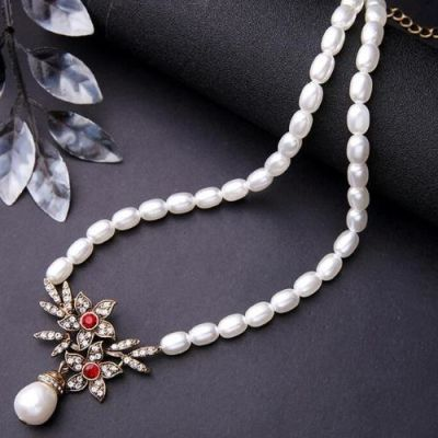 Zircon Floral Pearl Necklace